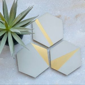 Concrete geometric hexagon coasters (4pack)